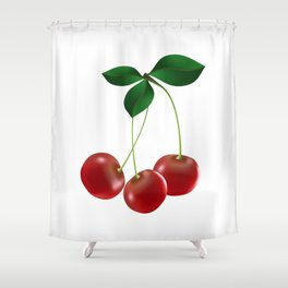 Cherries with leaves Shower Curtain