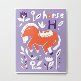 Hi is for Horse // Animal Alphabet Metal Print
