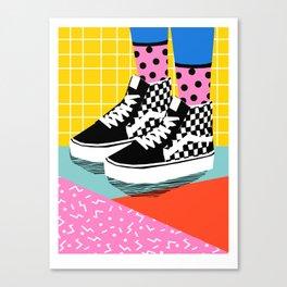 Steezy - retro shoes art print, memphis art print, skater, skateboarding, sneakers, old skool Canvas Print