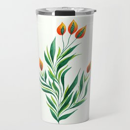 Abstract Green Plant With Orange Buds Travel Mug