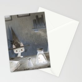 Little ghost and wizard cat Stationery Cards