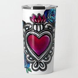 Sacred Heart White Background Travel Mug