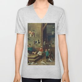 The Kitchen by David Teniers the Younger Unisex V-Neck