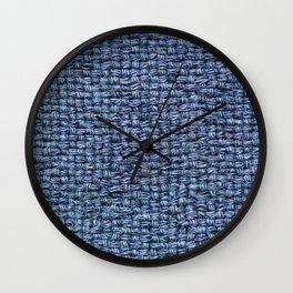 Blue Burlap Textile Wall Clock