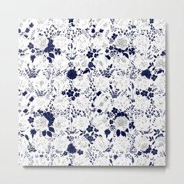 Star Sapphire Floral Celebration Moonlight Blue Rose Metal Print