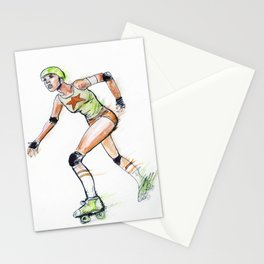 Black girl on rollerblades Stationery Cards