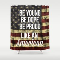 american Shower Curtains featuring American by Karolis Butenas