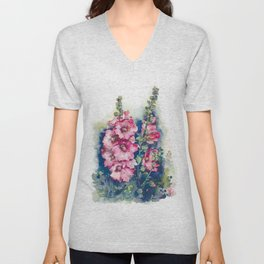 Watercolor Hollyhocks pink flowers Unisex V-Neck