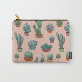 Potted Cacti and Succulents on Sahara Rose background. Carry-All Pouch