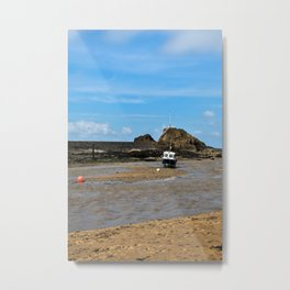 Boat at low tide - Bude, England Metal Print