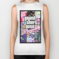 grand theft auto Biker Tanks featuring My little grand theft by eatpersonality