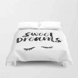 Sweet Dreams black and white contemporary minimalist typography poster home wall decor bedroom art Duvet Cover