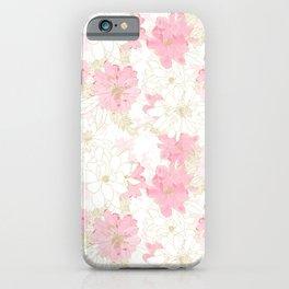 Elegant Pink & Gold Floral Watercolor Paint White Design iPhone Case