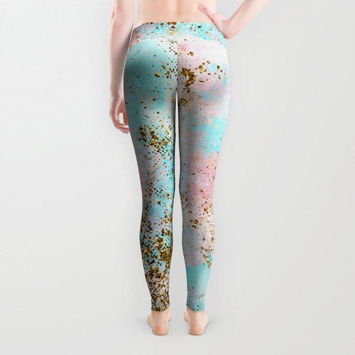 Pink and Gold Mermaid Sea Foam Glitter Leggings