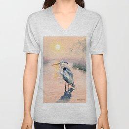 Great Blue Heron at Sunset Unisex V-Neck