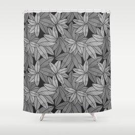 Black & White Leaves By Everett Co Shower Curtain