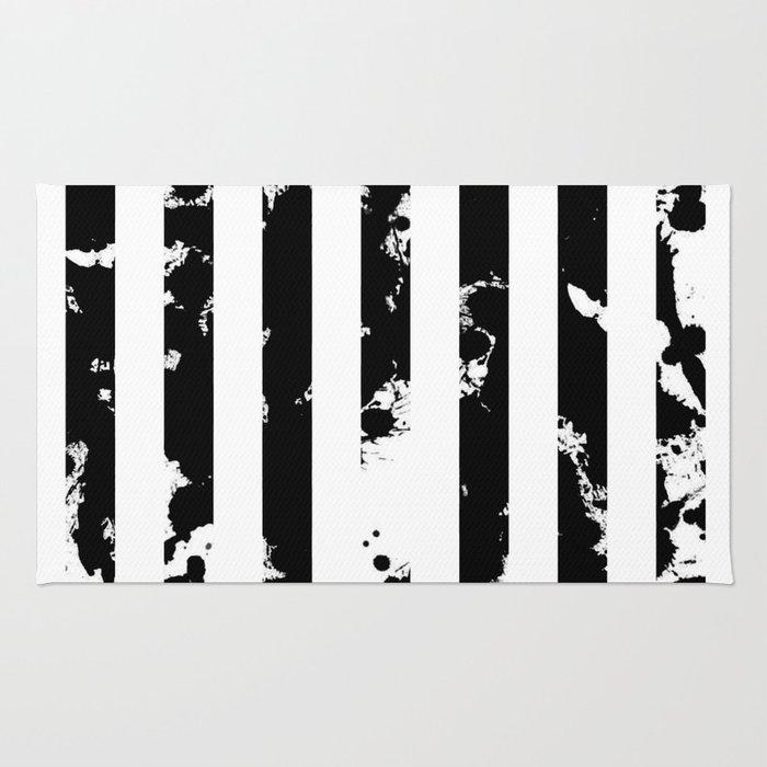 Splatter Bars - Black ink, black paint splats in a stripey stripy pattern Rug