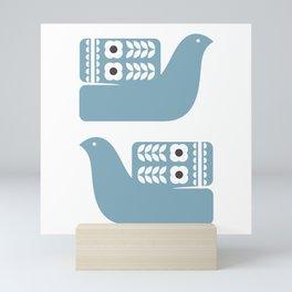 Blue Birds // Scandinavian birds // Folk Art Birds // Mid Century Birds Mini Art Print