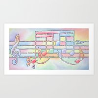 music notes Art Prints featuring Music Notes by Rick Borstelman