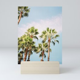 Green palm trees on blue | Marrakech travel photography | Colorful film photo art Mini Art Print