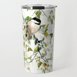 chickadee and dogwood, chickadee art design floral Travel Mug