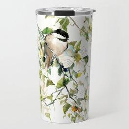 chickadee and dogwood, chickadee art design floral Travel Mug