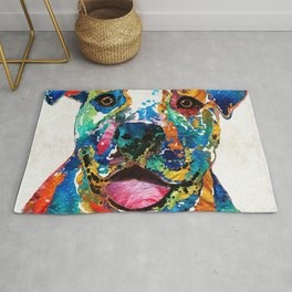 Colorful Dog Pit Bull Art - Happy - By Sharon Cummings Rug