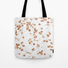 Rose gold crystals - white marble Tote Bag
