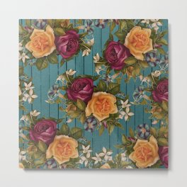 Vintage green wood coral burgundy roses floral Metal Print
