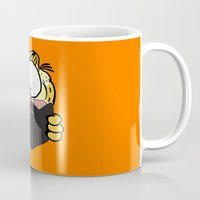 garfield Mugs featuring Garfield Cat Beard by Stuff Your Eyes