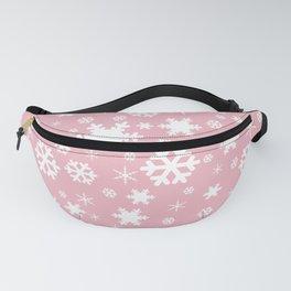White & blush pink snowflake pattern Fanny Pack