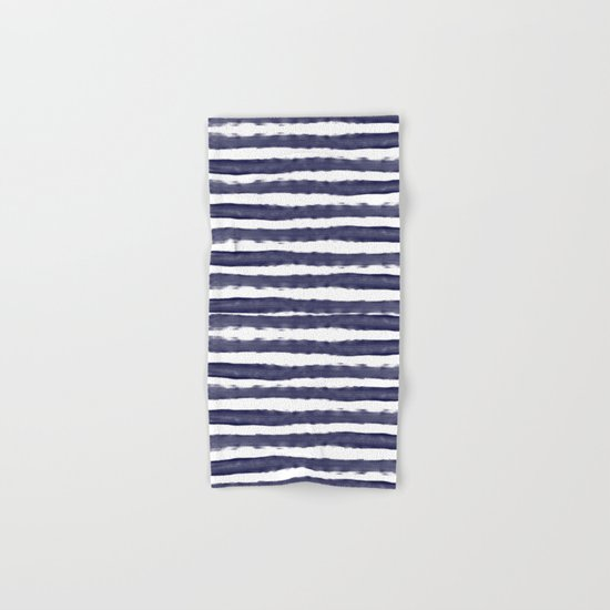 Maritime pattern- darkblue handpainted stripes on clear white Hand & Bath Towel