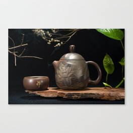 Japanese Teapot with Lotus Blossom Flower Canvas Print