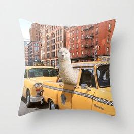 Alpaca in New York Throw Pillow