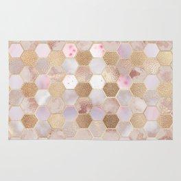 Hexagonal Honeycomb Marble Rose Gold Rug