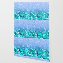 Modern blue turquoise glitter marble watercolor pattern Wallpaper