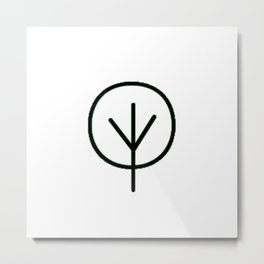 Drawn Tree in Black Metal Print