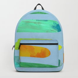 Green Pegs in Blue Backpack