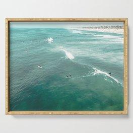 California Surf // Coastal Spring Waves Teal Blue and Green Ocean Huntington Beach Views Serving Tray