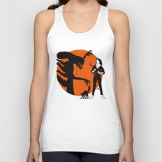 Alien Cartoon Style - Orange Unisex Tank Top