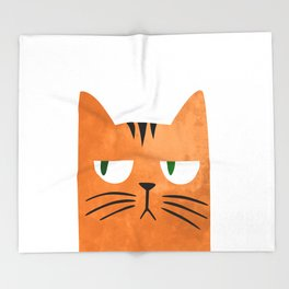 Orange cat with attitude Throw Blanket