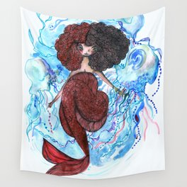 Mermaid and jellyfish, red and blue Wall Tapestry
