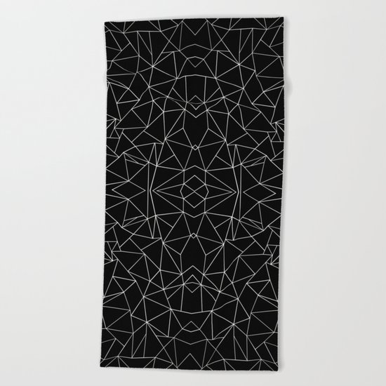 Abstract Collide Outline White on Black Beach Towel