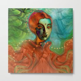 """Exotic woman in green and orange tropical jungle"" Metal Print"