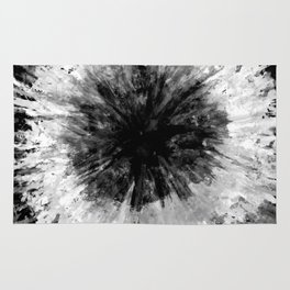 Black and White Tie Dye // Painted // Multi Media Rug