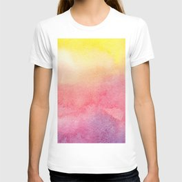 Hand painted abstract violet pink yellow watercolor paint T-shirt