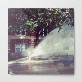 Fire Hydrant Water Rainbow photo Metal Print