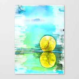 Tennis Ball On Court Reflection. For Tennis Lovers Canvas Print