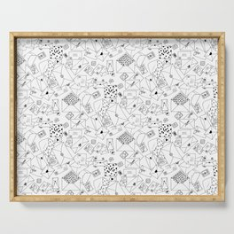 Snail Mail Infinite Pattern V2: Black and White Ink Drawing Serving Tray