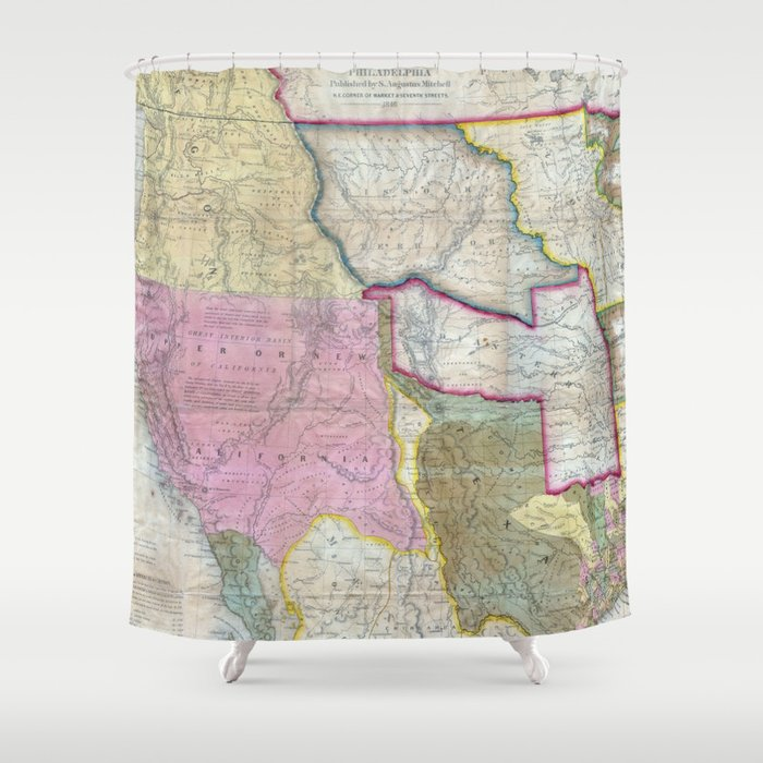 Vintage Map of The Western United States (1846) Shower Curtain by  bravuramedia
